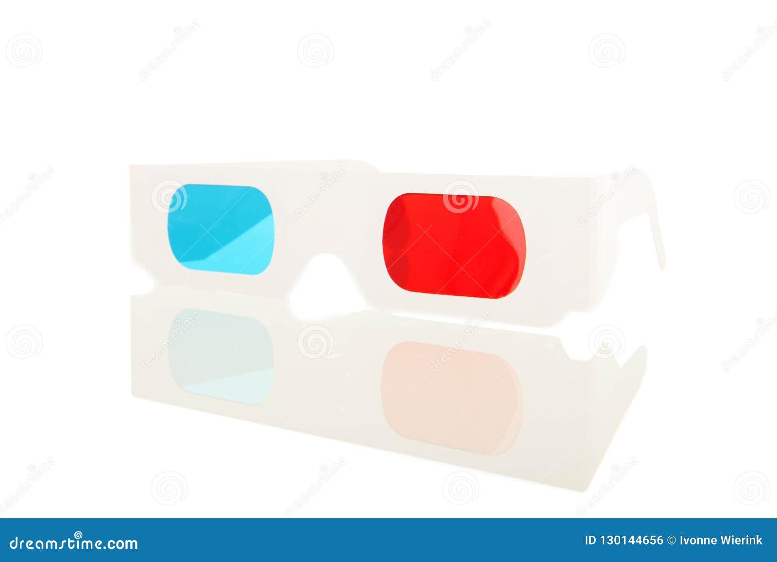 3D szkła w błękicie i czerwieni