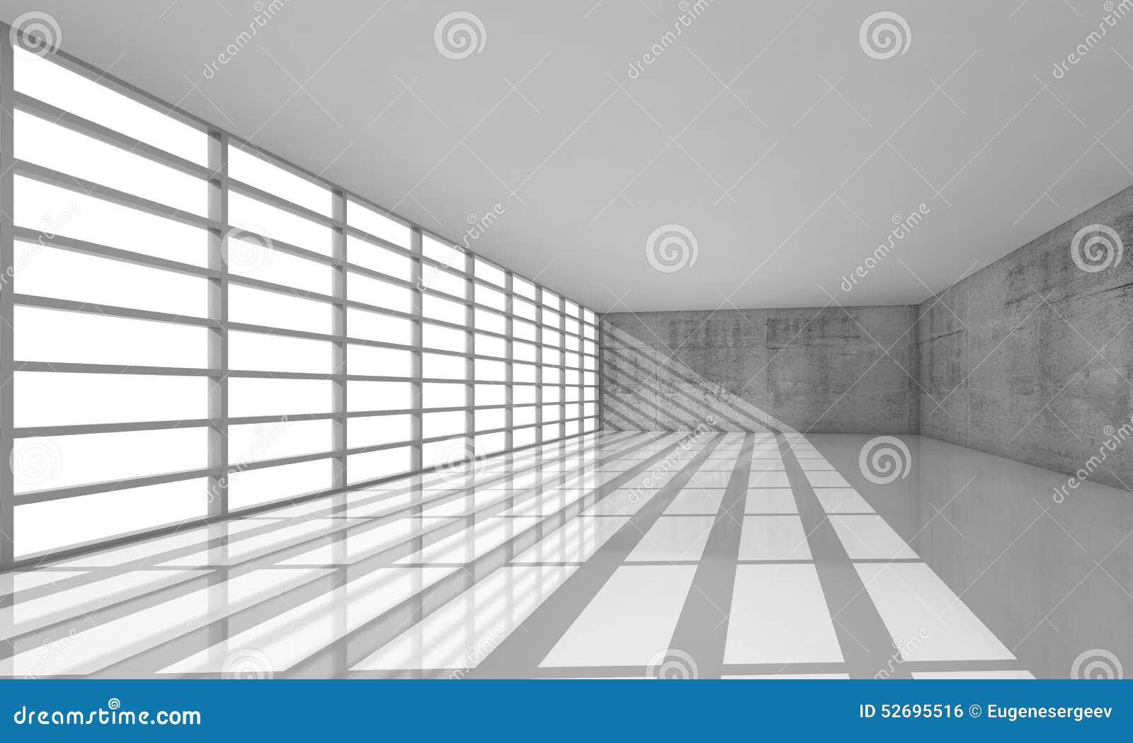 3d tömmer den vita öppet utrymmeinre med ljusa fönster