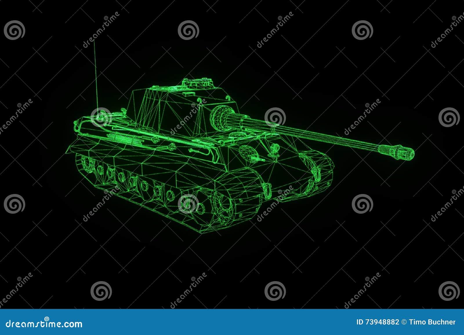 3D Tank Hologram Wireframe In Motion  Nice 3D Rendering