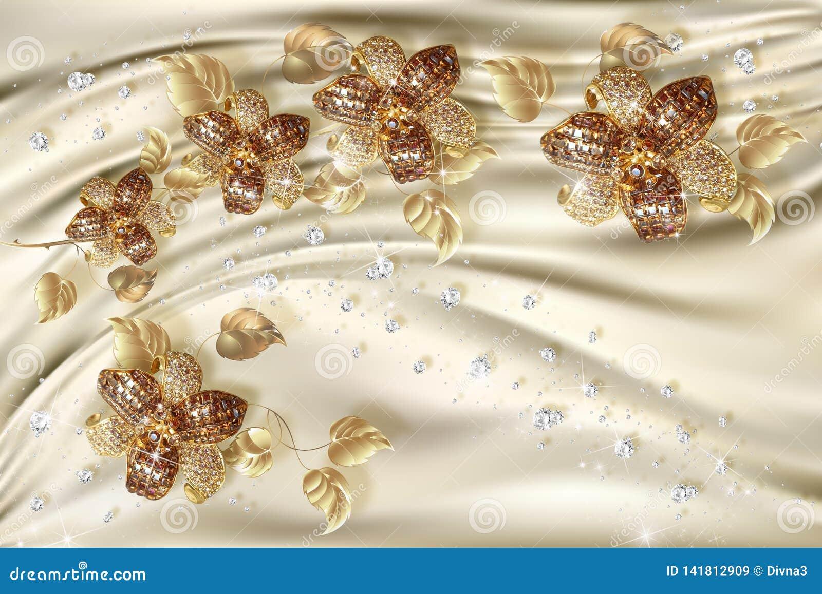 3D tapet, guld- smyckenblommor på siden- bakgrund