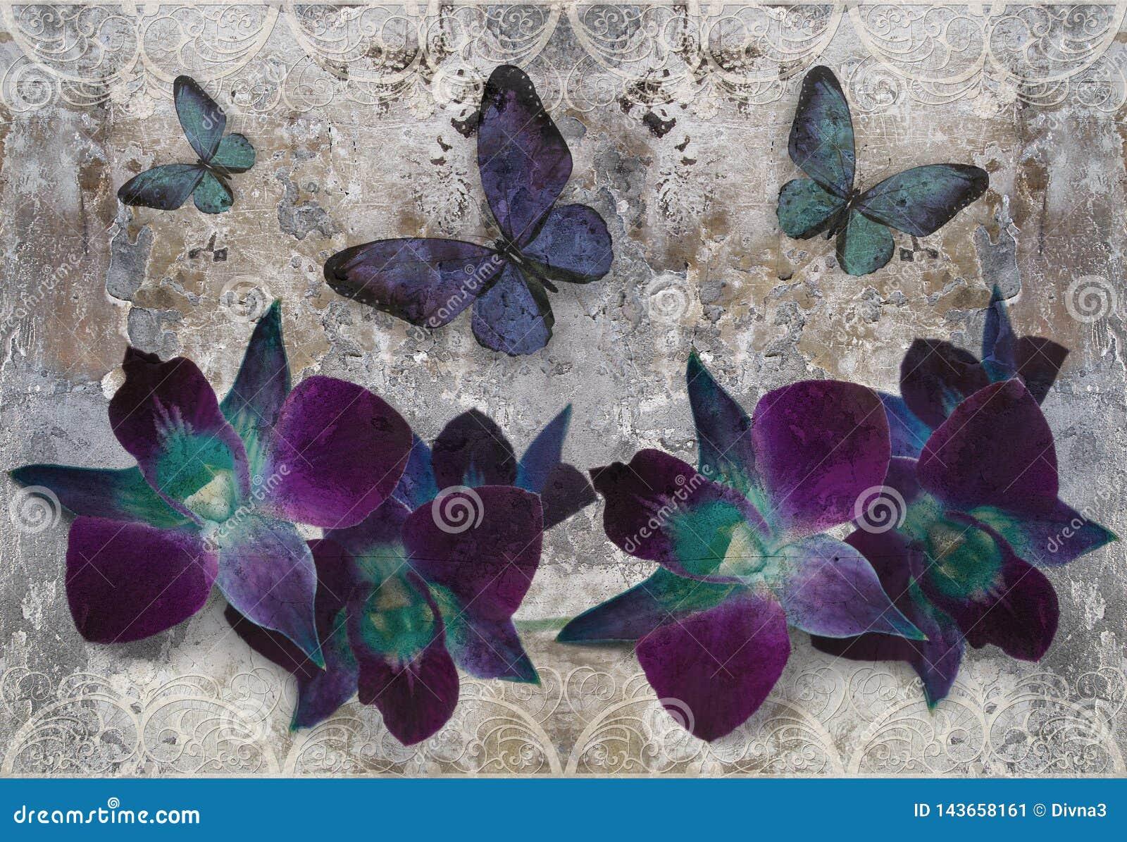 3d tapeta, orchidee i motyle na koronce, betonowa ściana textured tło Fresku skutek