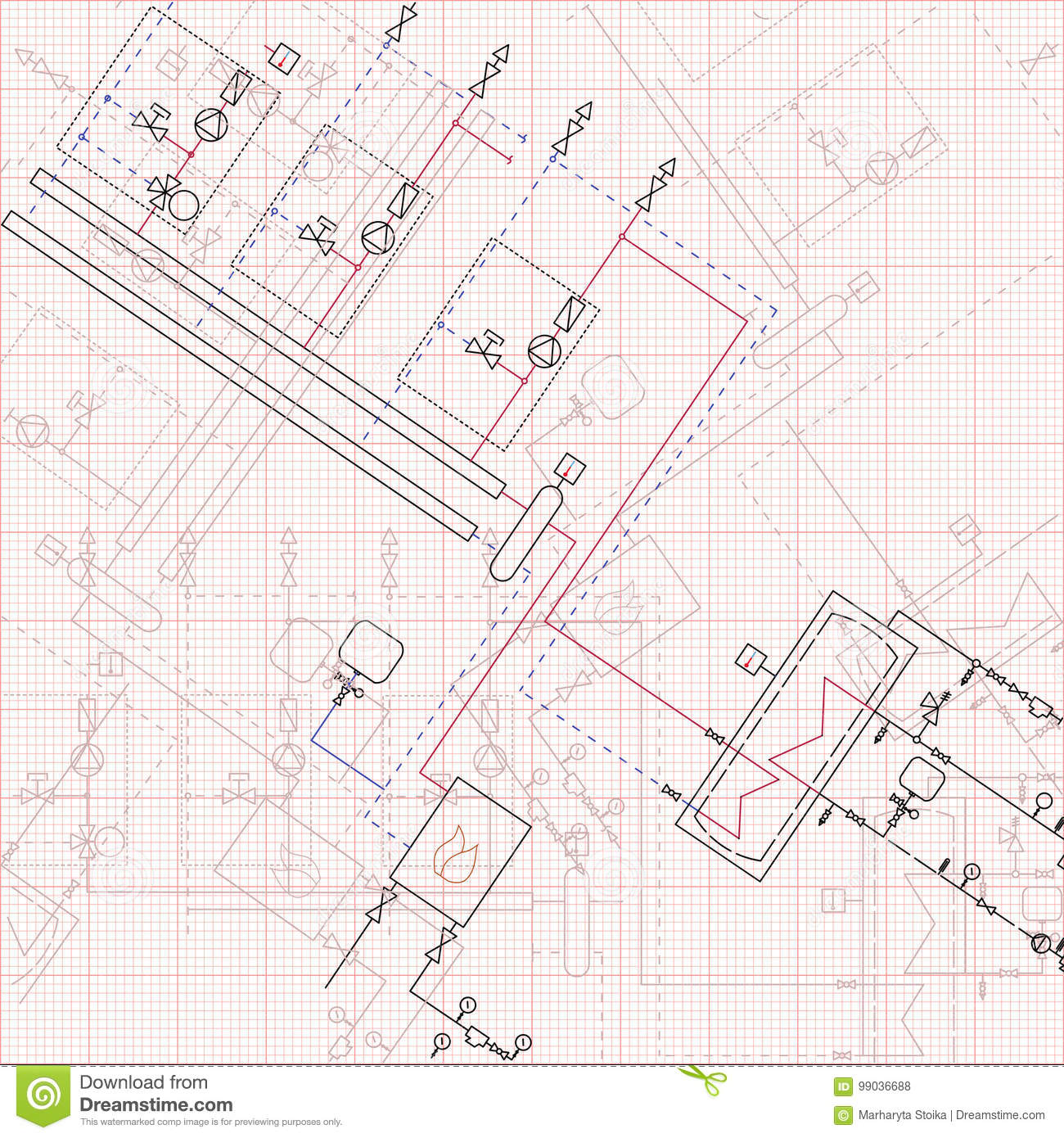 technical drawing gas boiler house graph paper blueprint stock