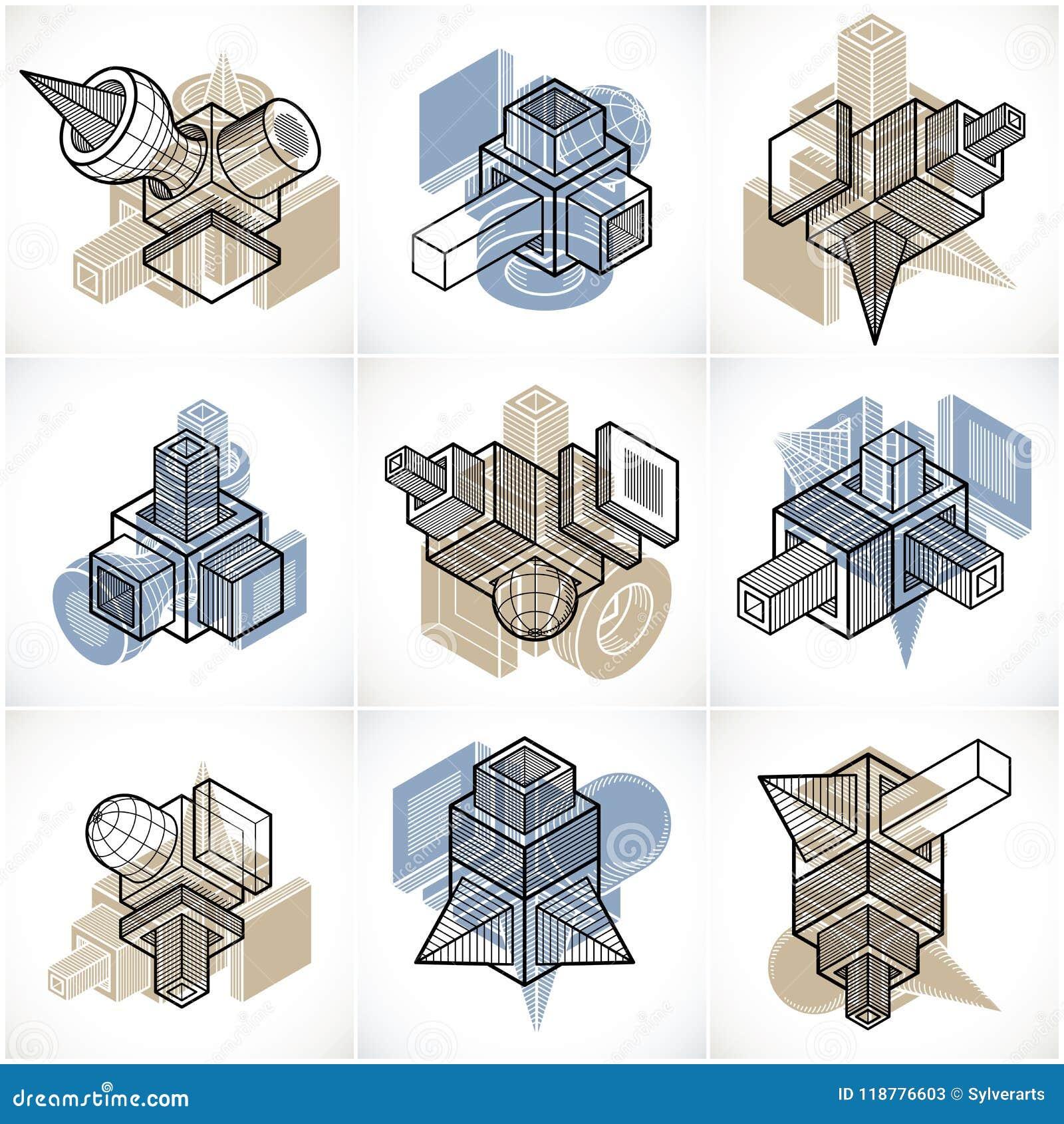 3D techniekvectoren, inzameling van abstracte vormen