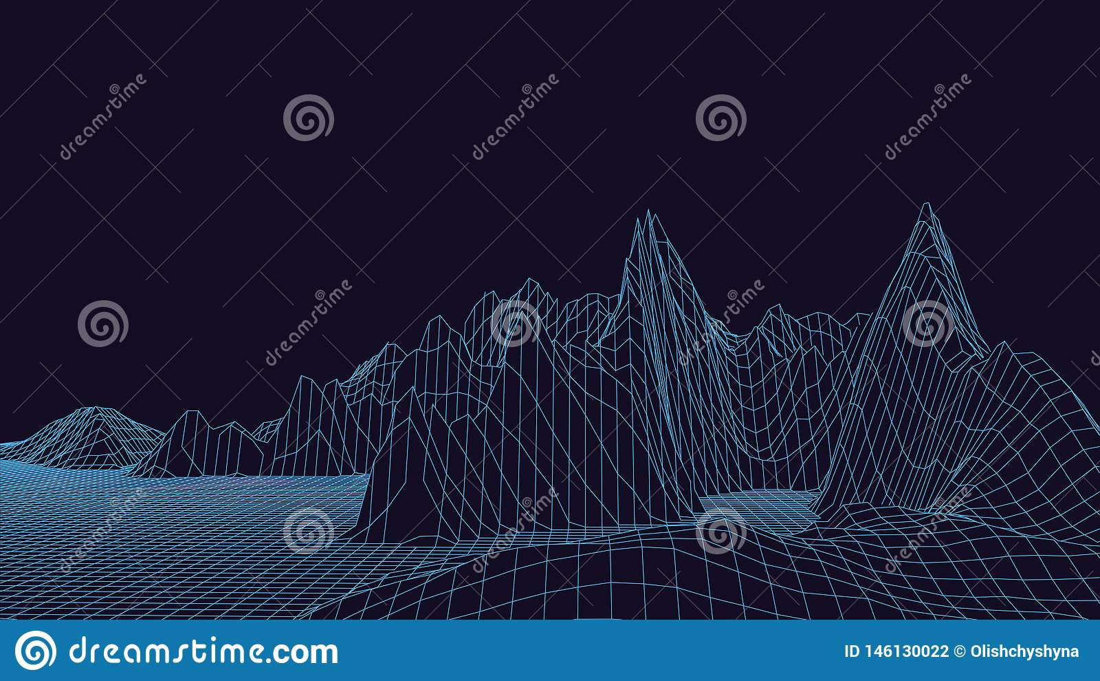 3d technology vector illustration. Abstraction. Landscape design of mountains
