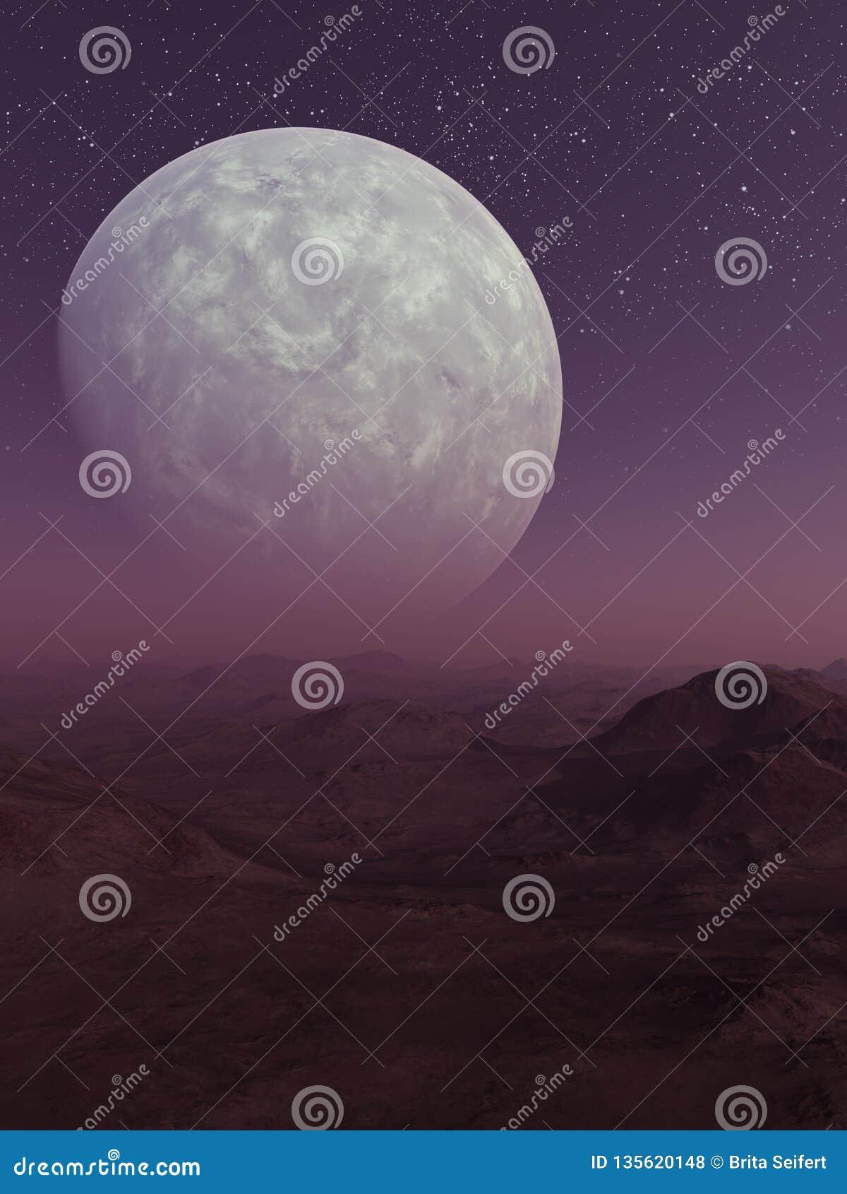 3d teruggegeven Ruimtekunst: Vreemde Planeet