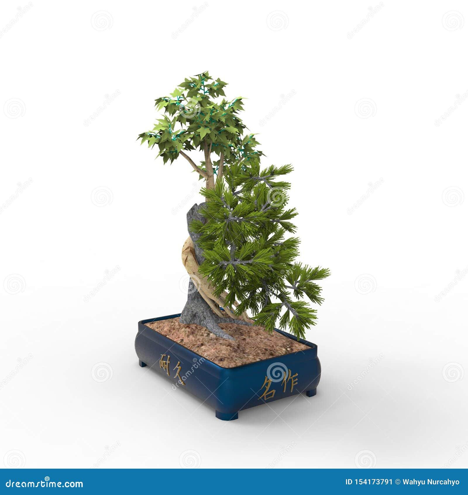 3d teruggevend een bonsai die door een mixerhulpmiddel te gebruiken wordt gecreeerd Realist 3d bonsai