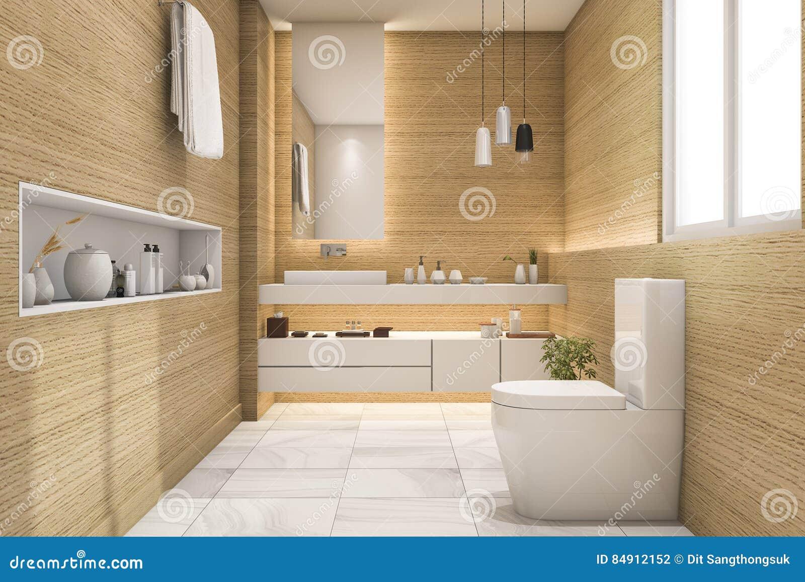 D teruggevend ruim en mooi toilet met wit houten ontwerp stock
