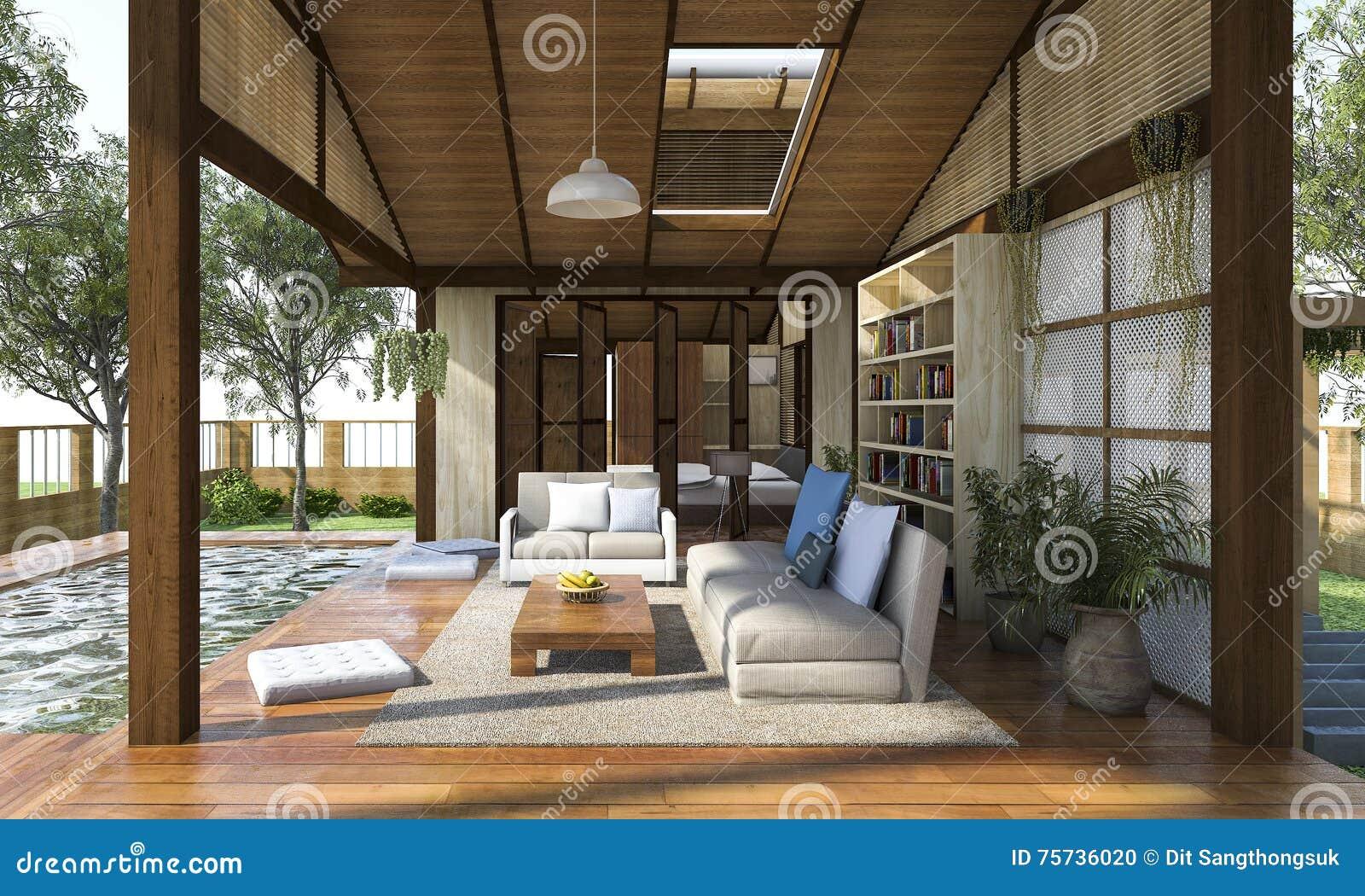 D teruggevende eigentijdse houten het leven streek met terras