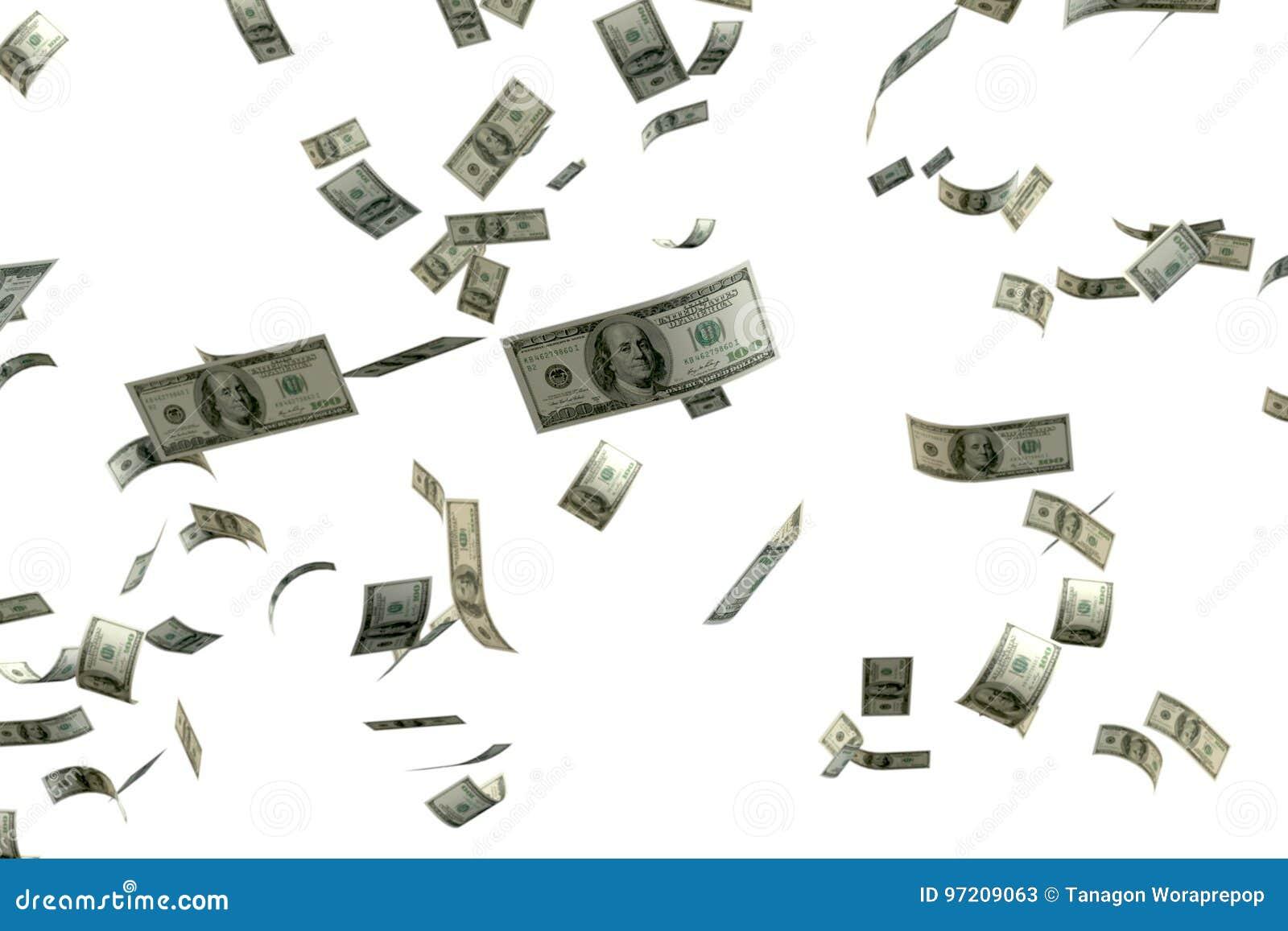 3D teruggevende hoop van geld 100 USD-bankbiljet het vliegen floa