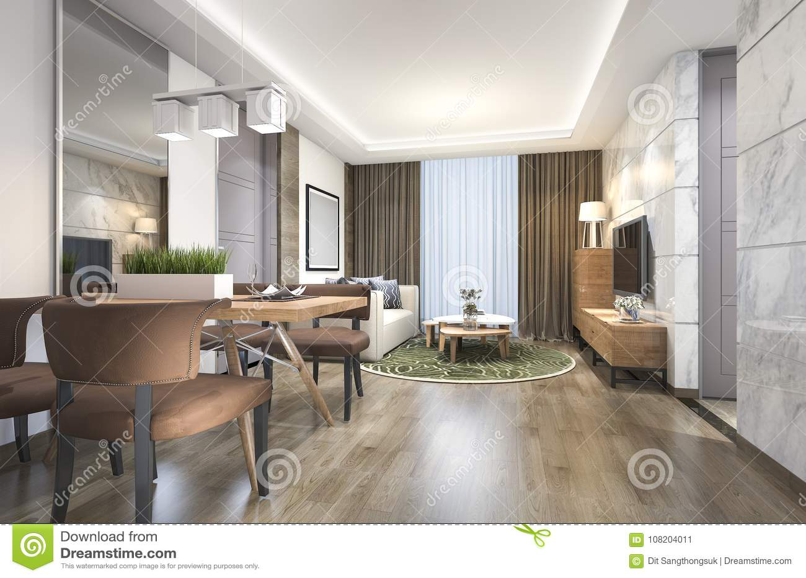 D teruggevende houten luxe en moderne woonkamer en eetkamer stock