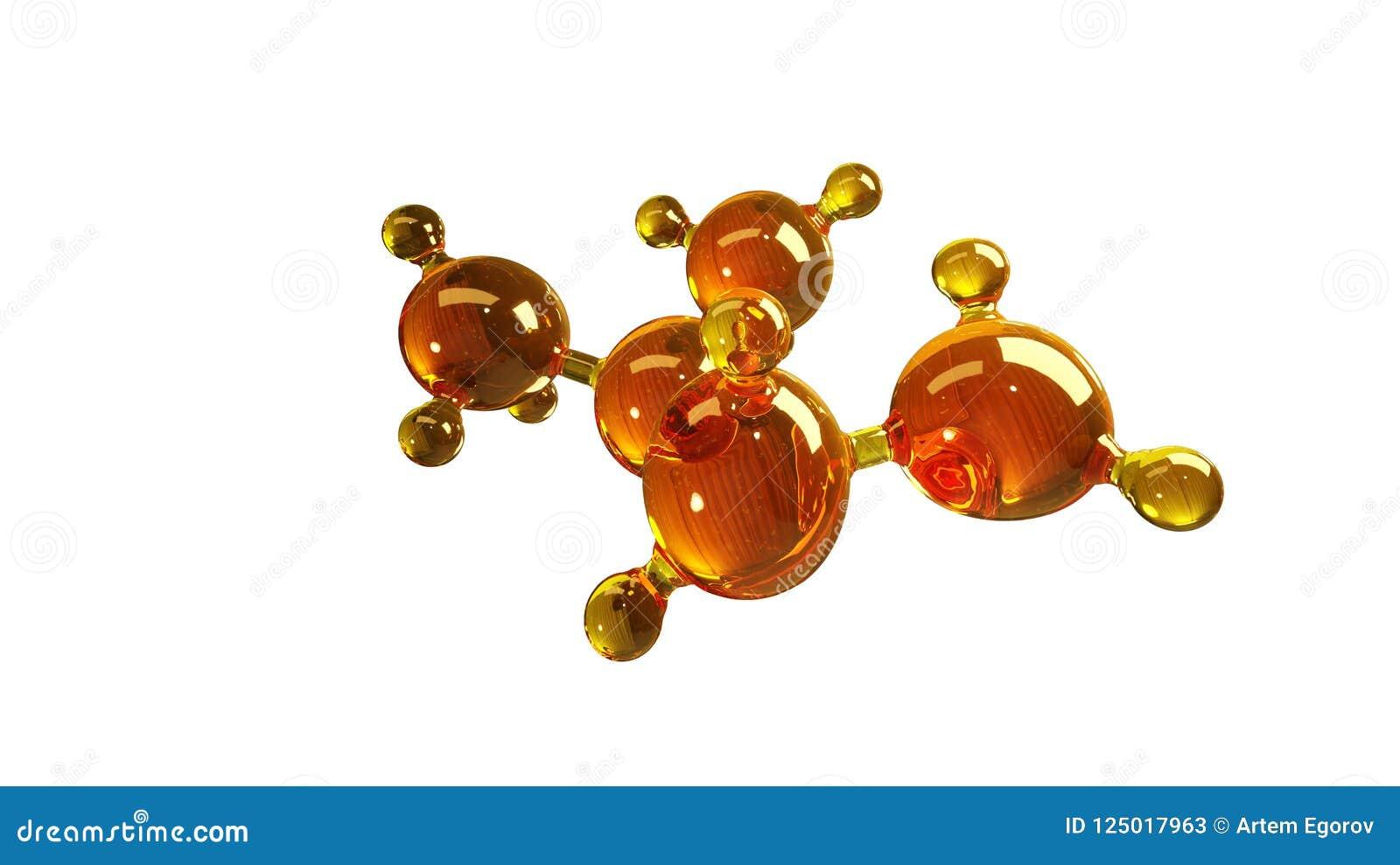 3d teruggevende illustratie van het model van de glasmolecule Molecule van olie Concept olie of gas van de structuur het de model