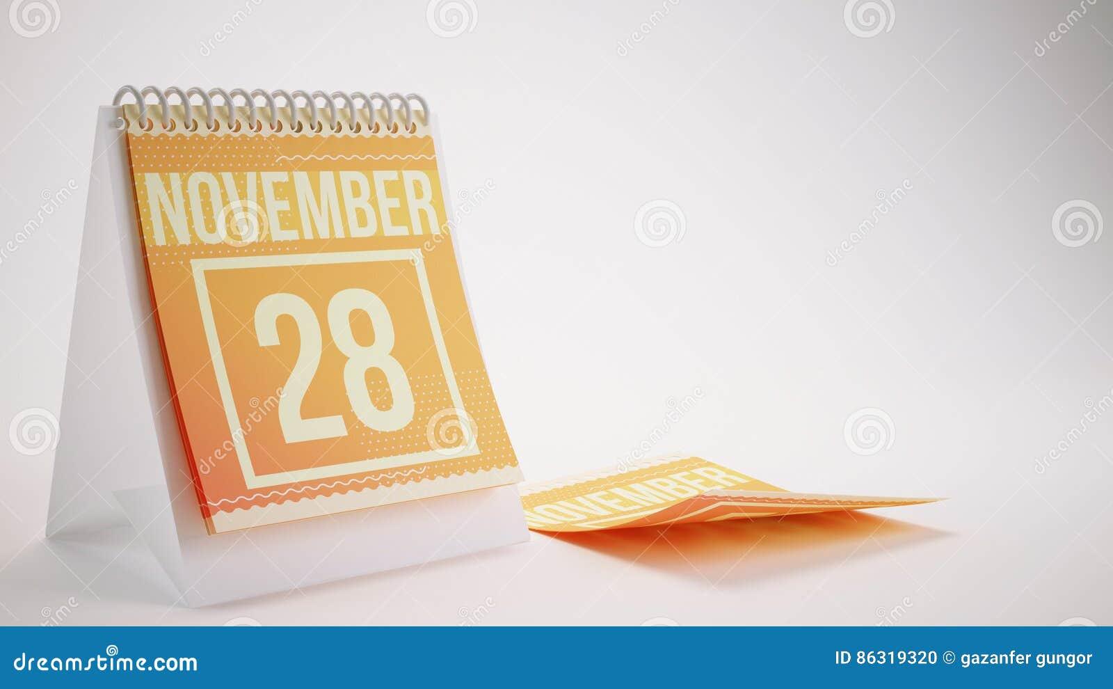 3D Teruggevende In Kleurenkalender op Witte Achtergrond - novemb