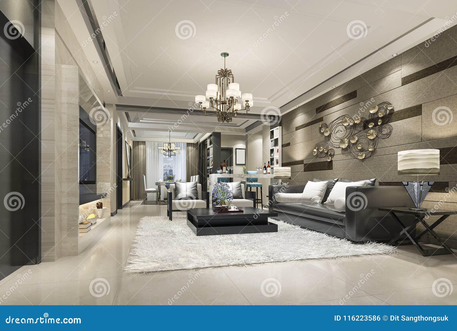 D teruggevende luxe en moderne woonkamer en eetkamer stock