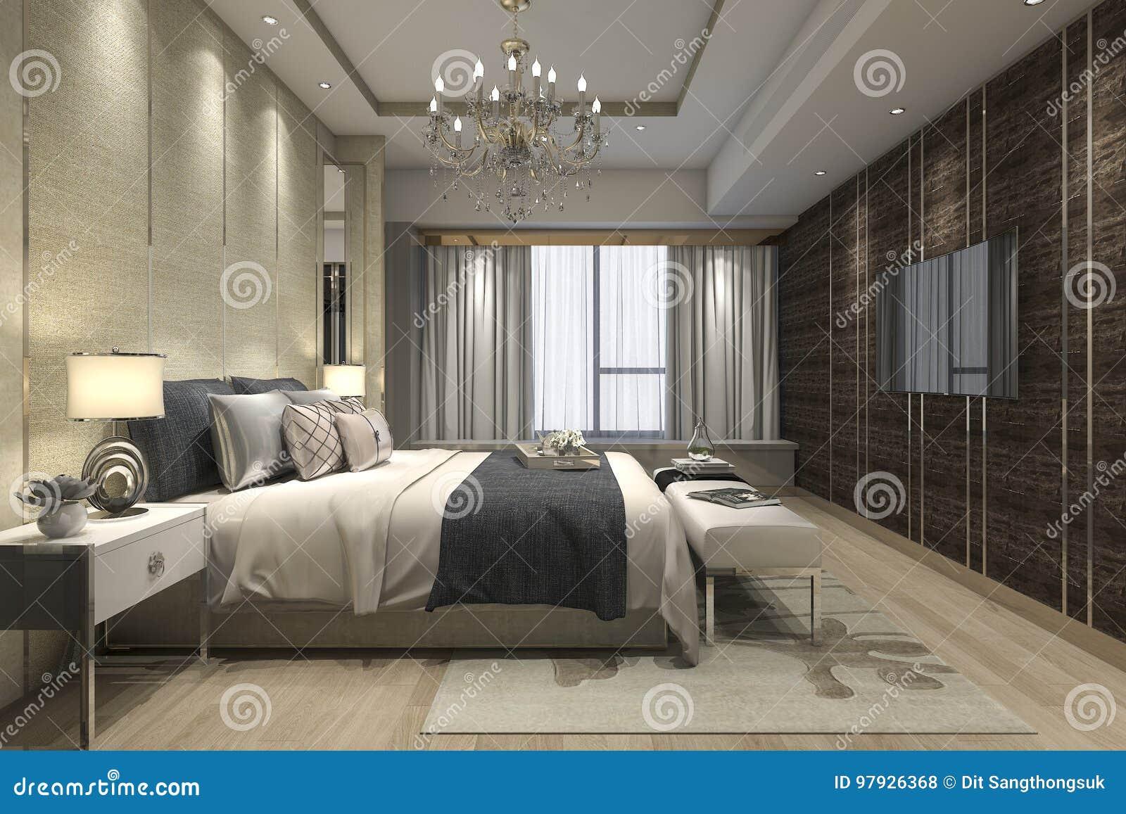 Luxe Slaapkamer Kast : D teruggevende luxe moderne slaapkamerreeks in hotel met