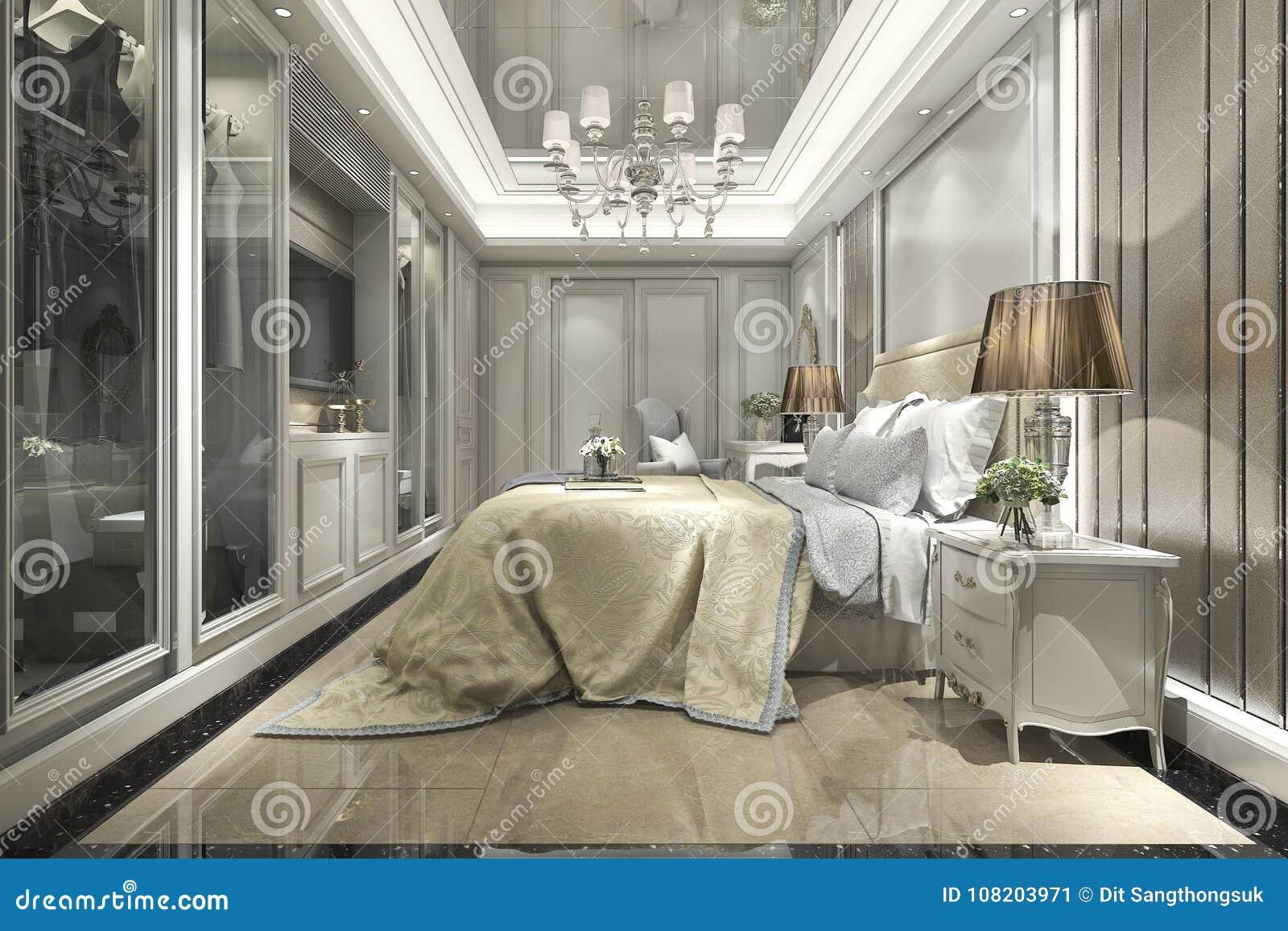 3d teruggevende moderne luxe klassieke slaapkamer met gang in kast