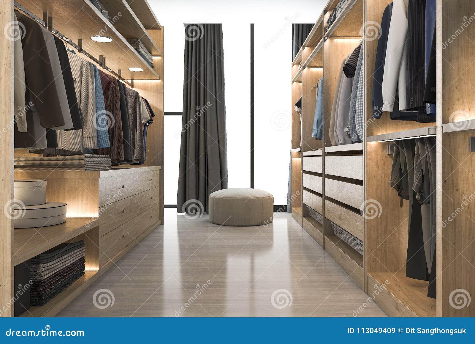 D teruggevende moderne skandinavische witte houten gang in kast