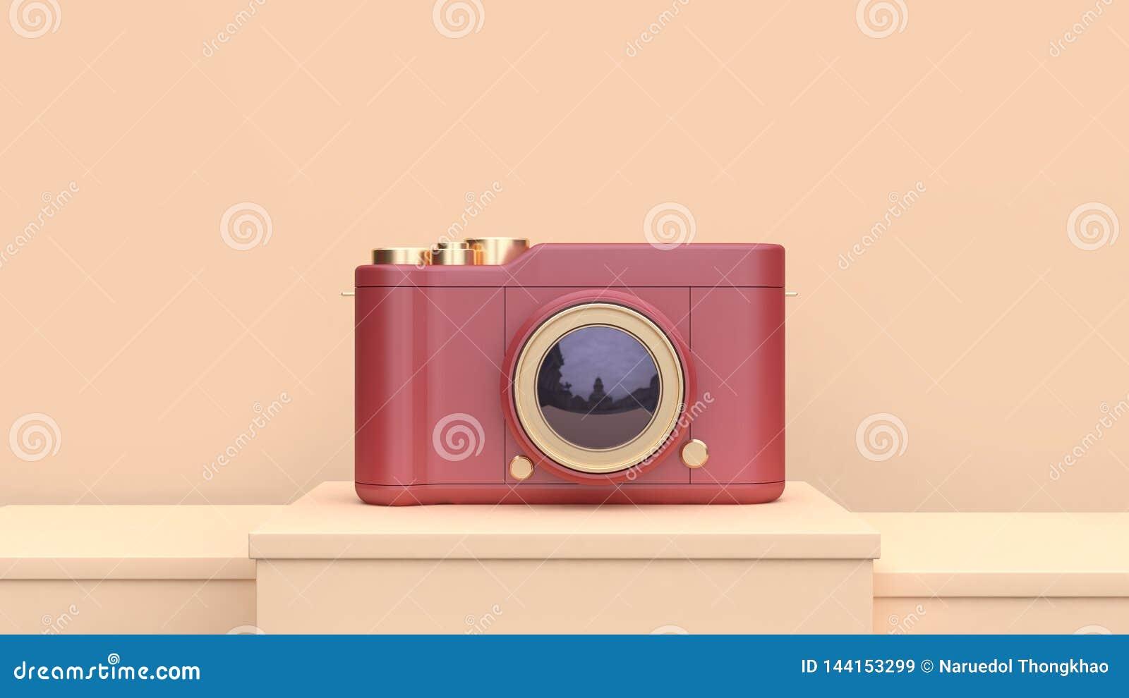 3d teruggevende rode gouden concept van de camerafotografie