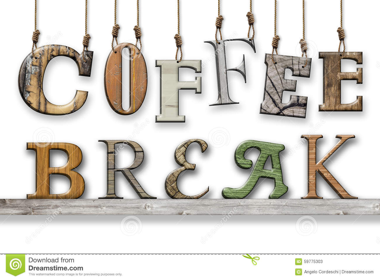 3d Text Coffee Break Wood Texture Letters Hung And