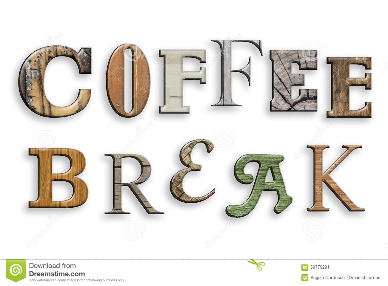 3d Text Coffee Break Wood Texture Letters On White Stock