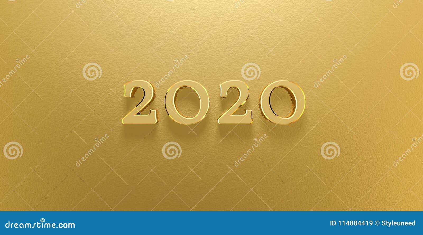 3d Illustration 2020 Gold Text Stock Illustration