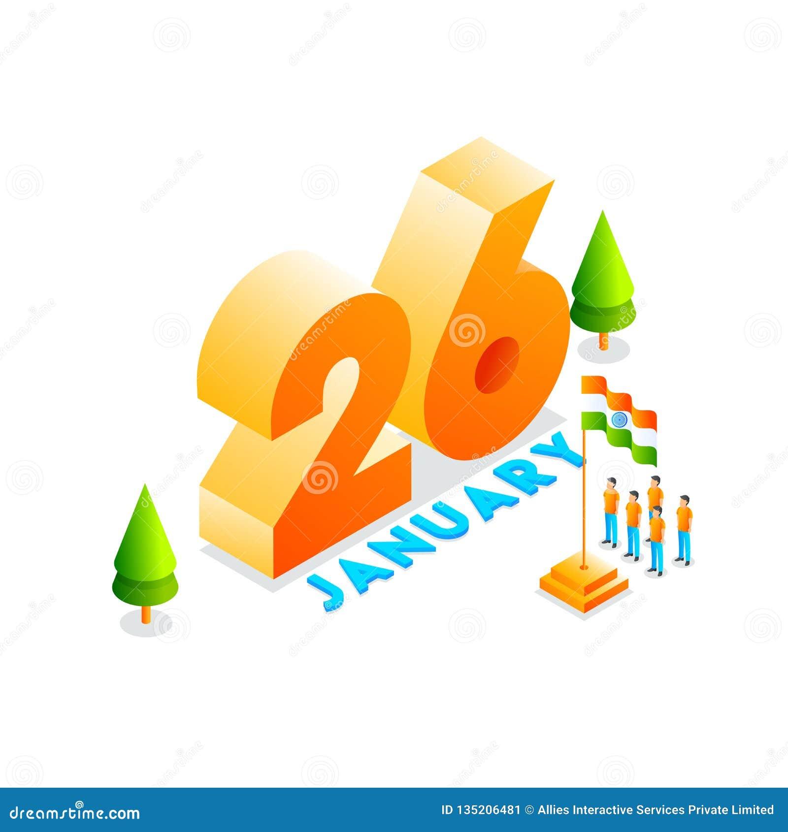 3D text 26 Januari med illustrationen av att hedra för folk av den indiska flaggan för lycklig republikdagberöm Kan användas som