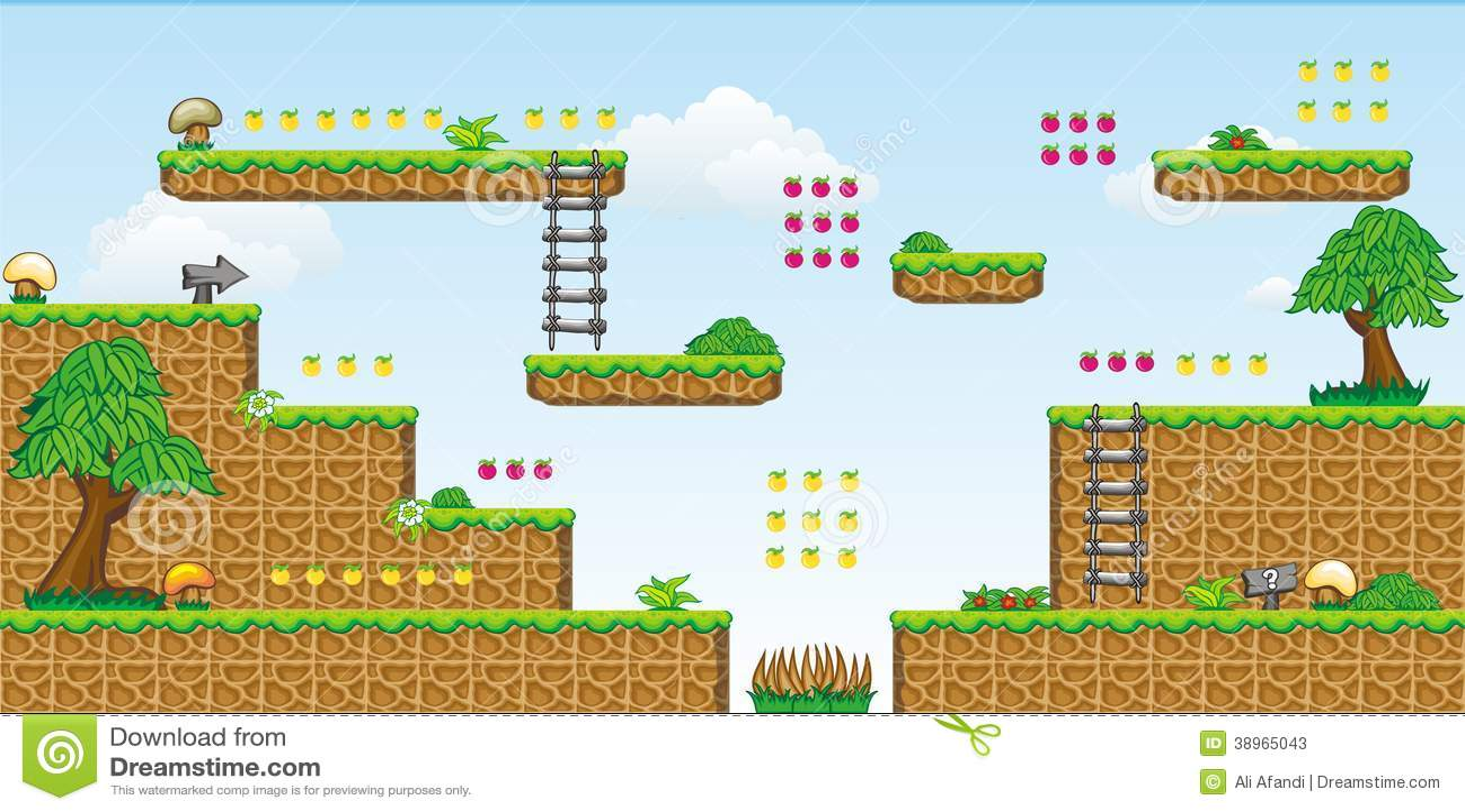 2D Tileset Platform Game 30 Stock Vector - Illustration of