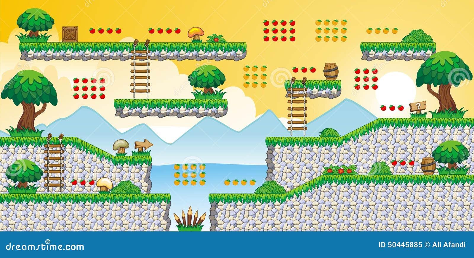 2D Tileset Platform Game 60 Stock Vector - Illustration of