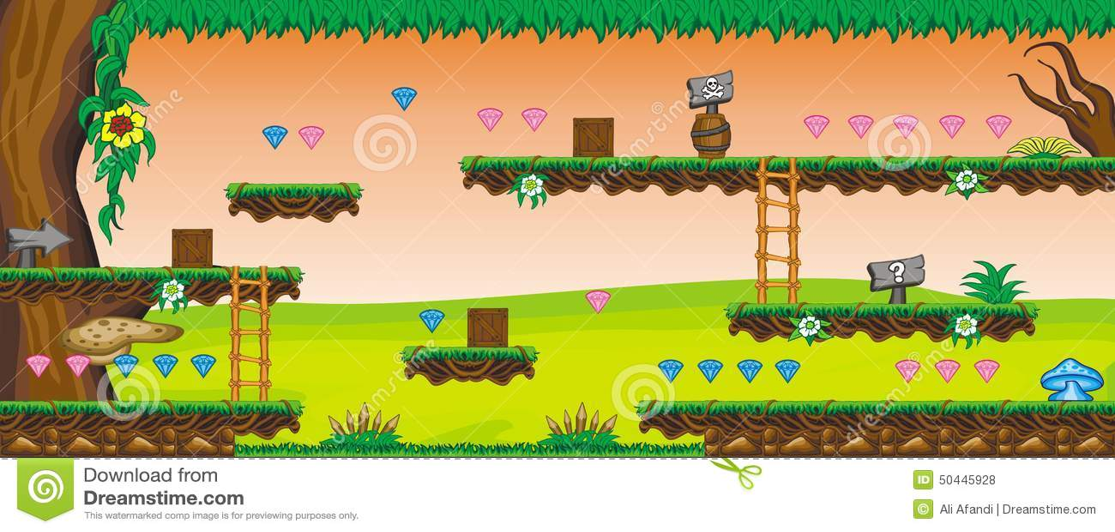 2D Tileset Platform Game 58 Stock Vector - Illustration of