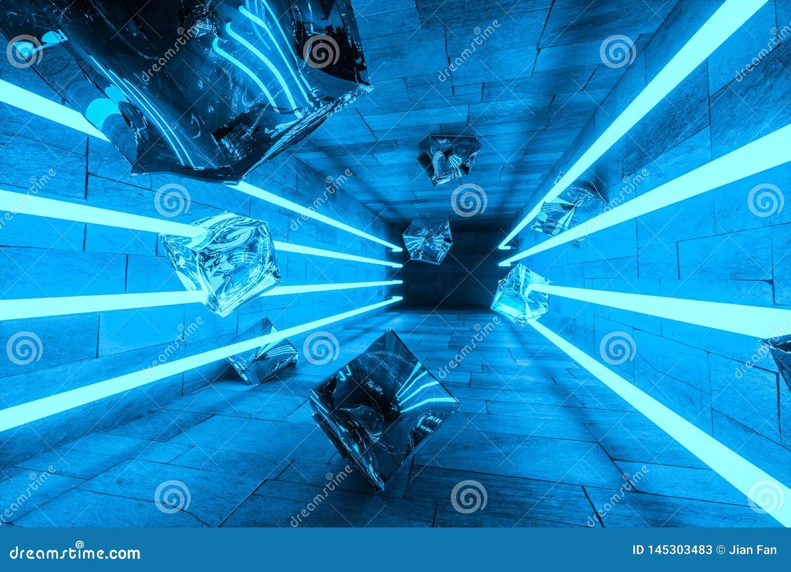 3d tolkning, gl?dande magiska linjer i anbanoned rum, m?rk bakgrund
