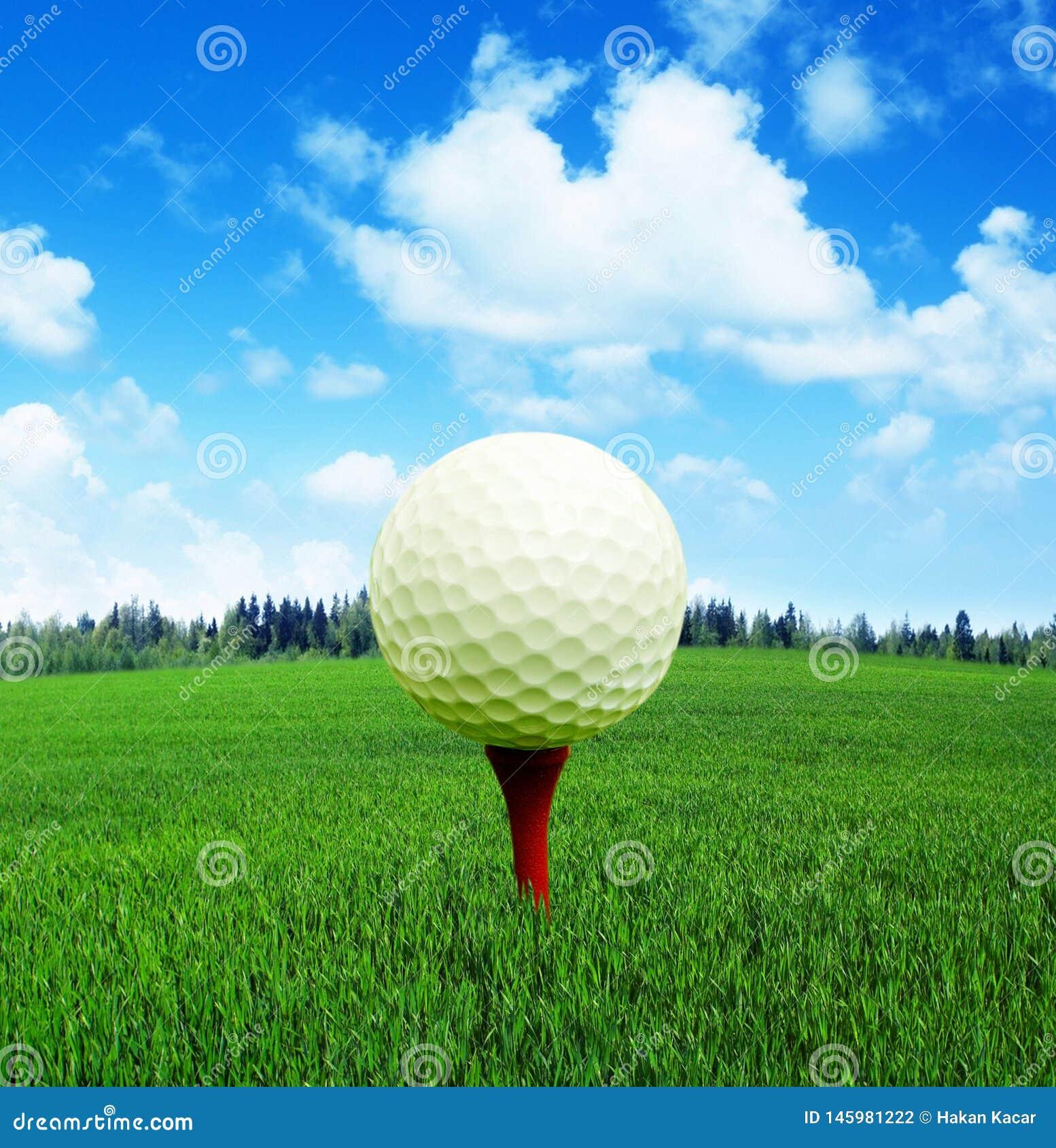 3D tolkning, golfboll i brand,