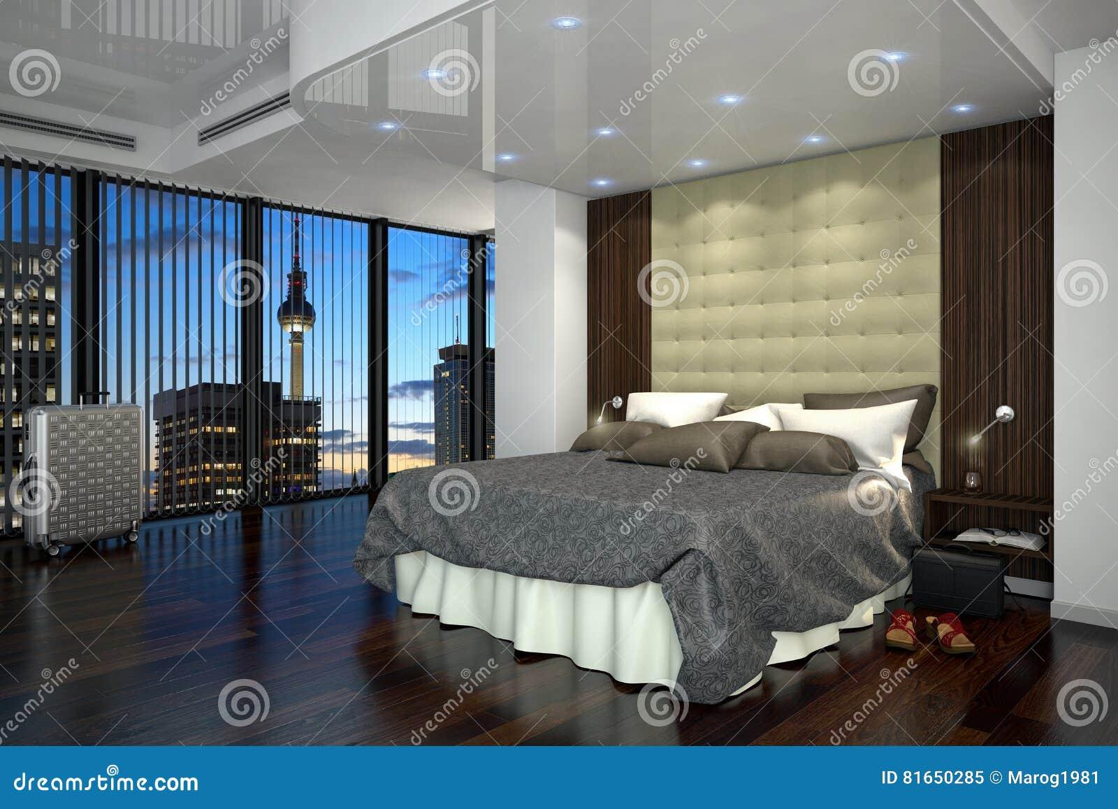 3d tolkning - hotellrum - sovrum