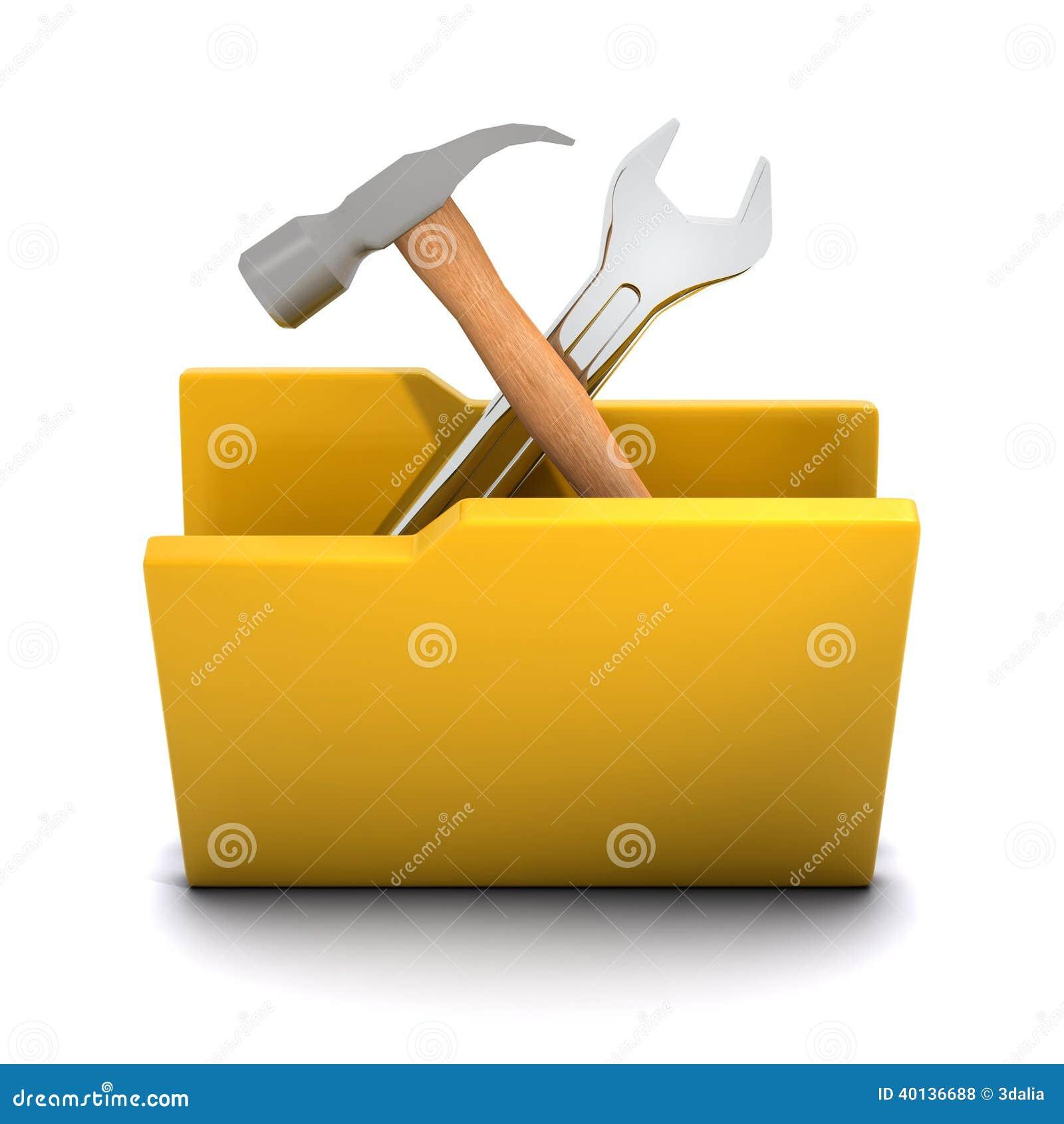 3d Tools Folder Icon Stock Illustration Image 40136688