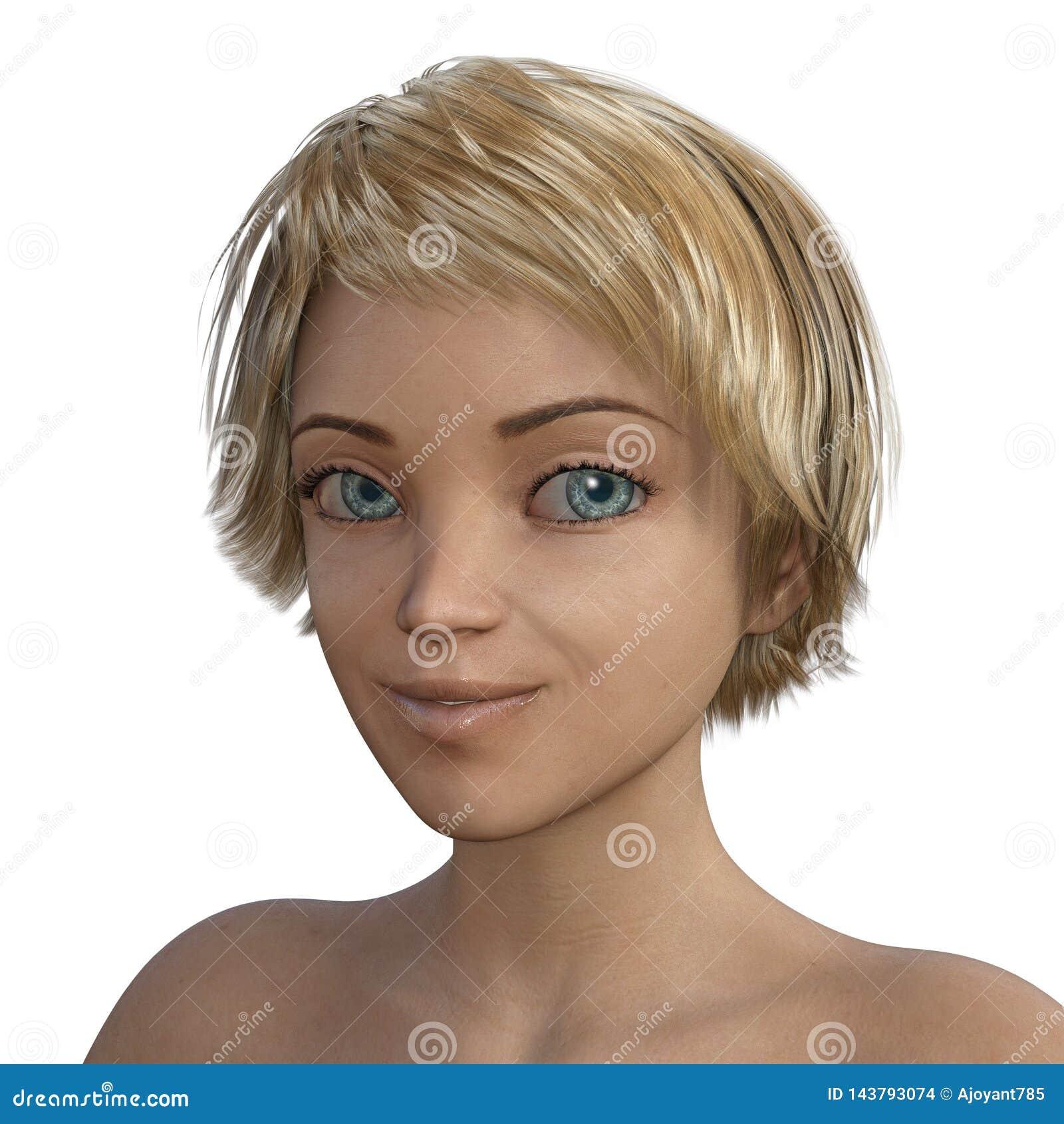3D Toon blondynki dziewczyny realistyczny portret