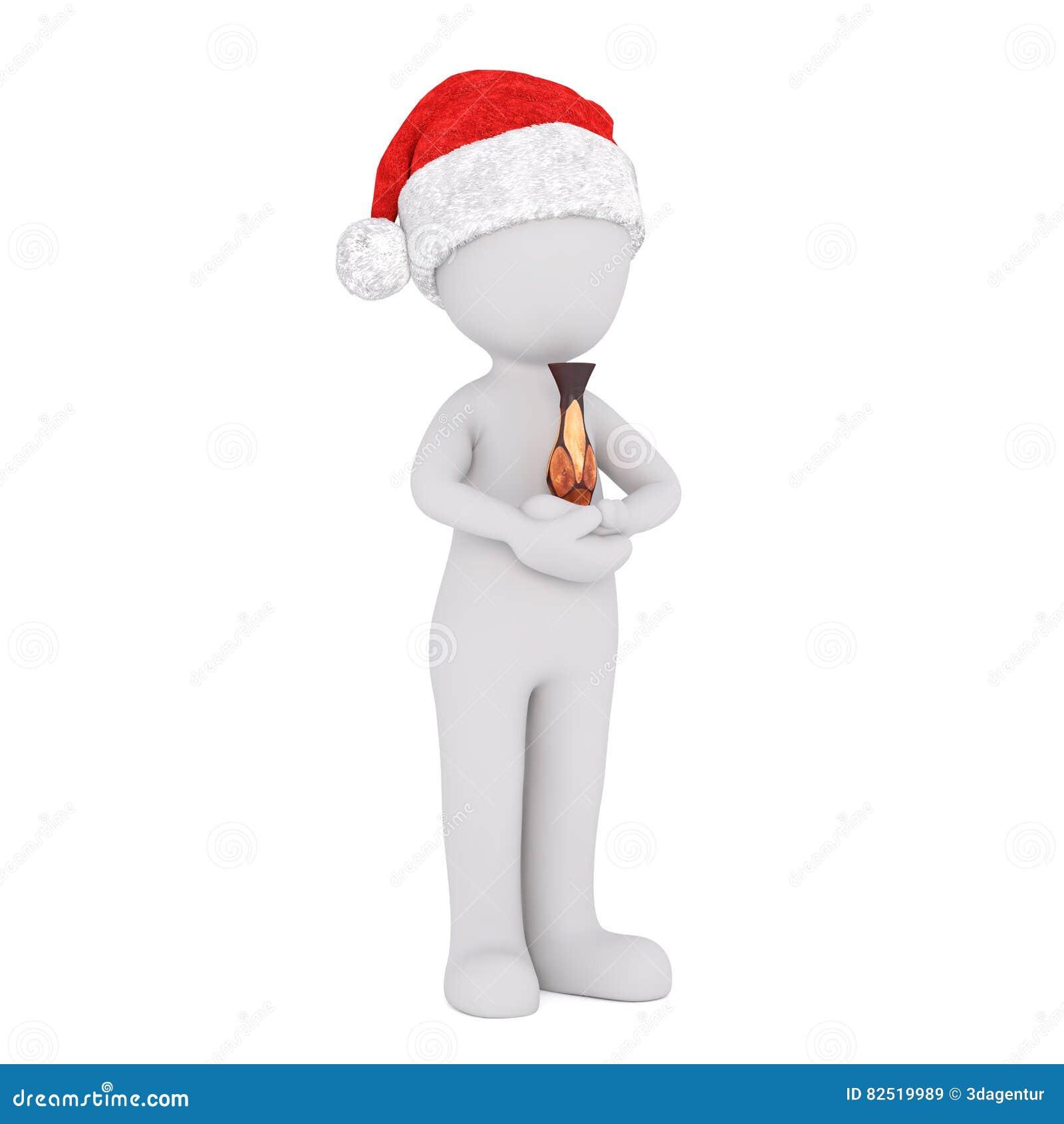 061332646defd Full body 3d toon in Santa hat holding antique vase on white background.  More similar stock illustrations