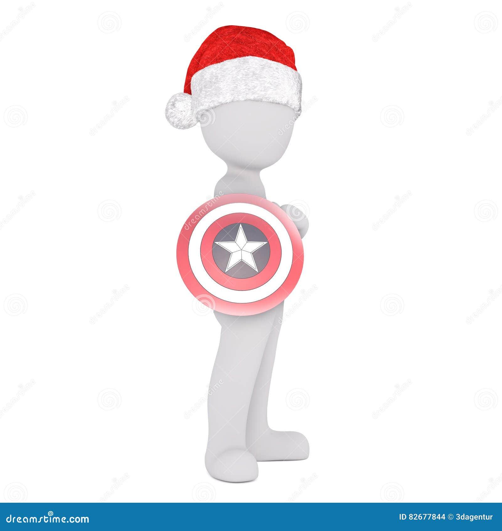 cdfe6f16a0ac6 Full body 3d toon in Santa hat holding superhero target on white. More  similar stock illustrations