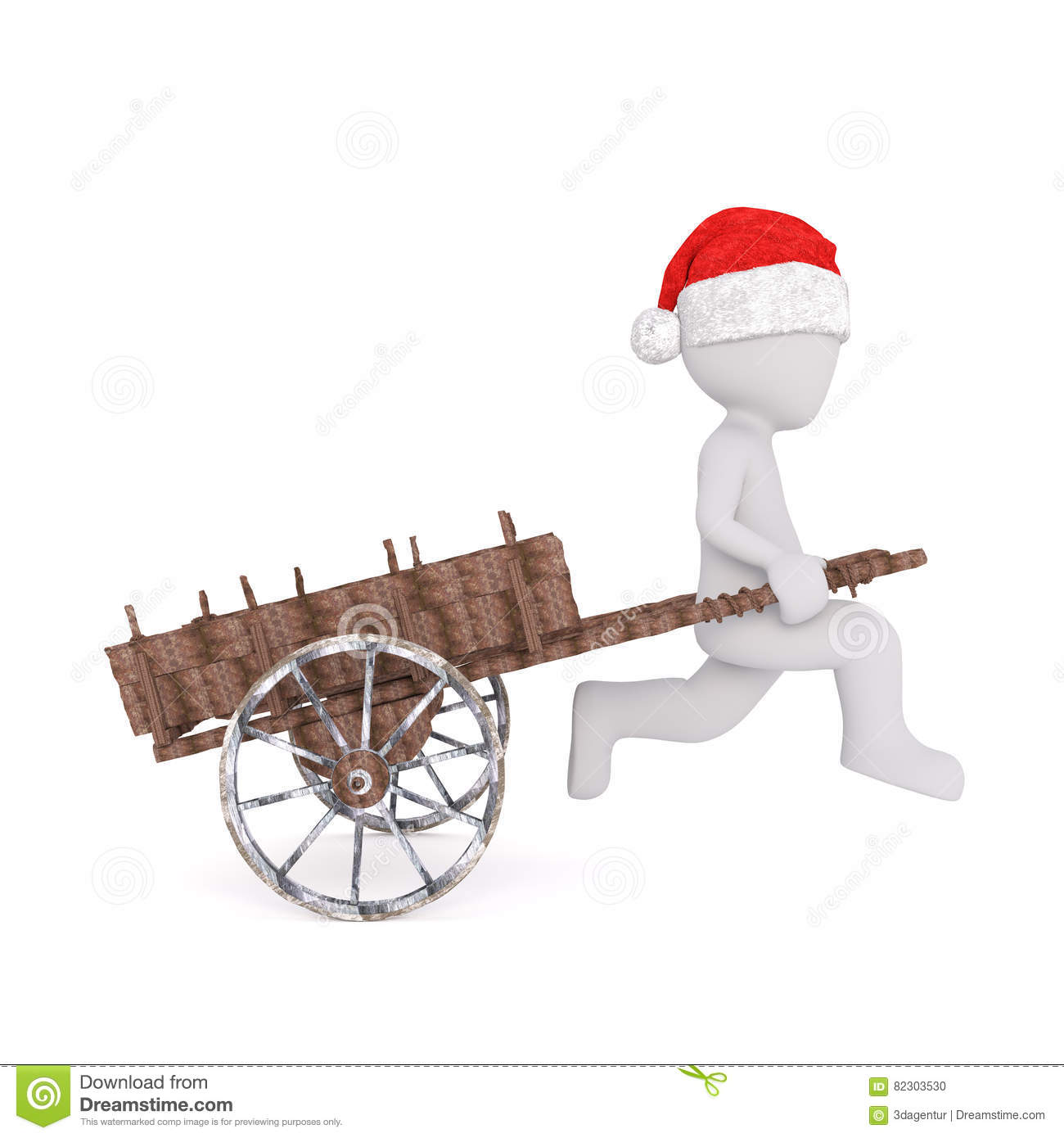 ffdfcd4b5854c Side view of 3d toon in Santa hat pulling retro wooden cart on white. More  similar stock illustrations