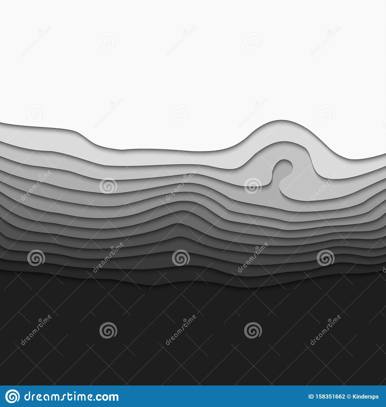 3D Topography map. Abstract background of gradient. Art background design. Horizontal smooth origami shape paper