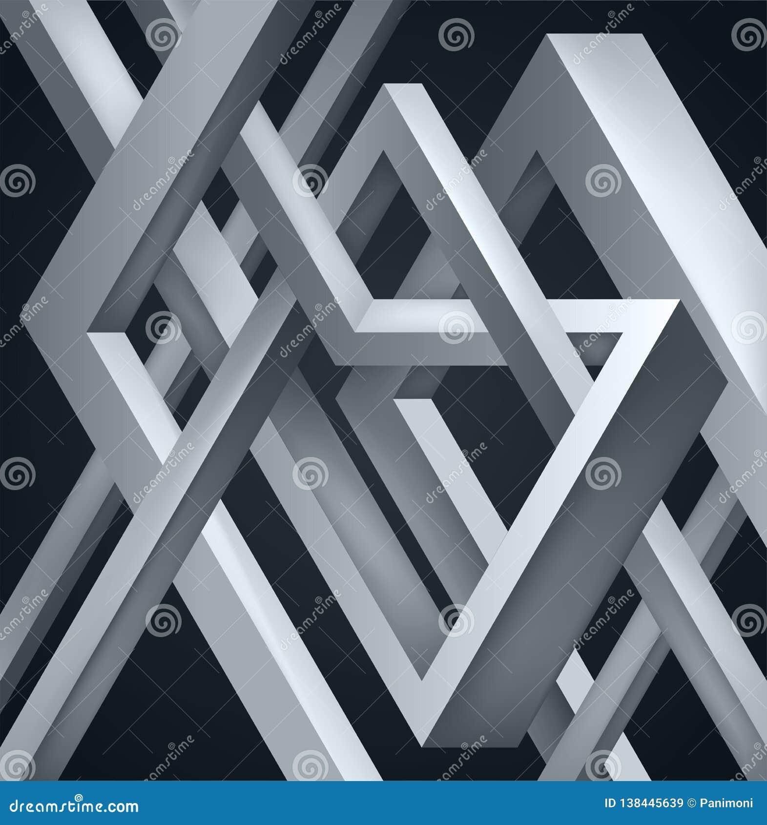 3D torció la composición de formas abstractas Las formas desconciertan Construcción irreal del vector en fondo oscuro
