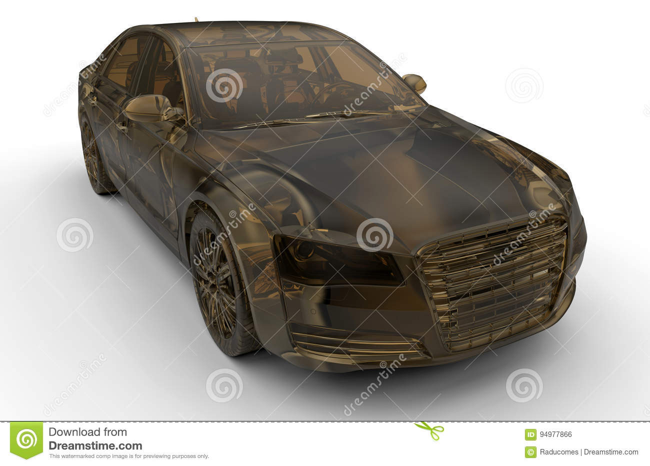 3d Transparent Model Of A Luxury Car Stock Illustration
