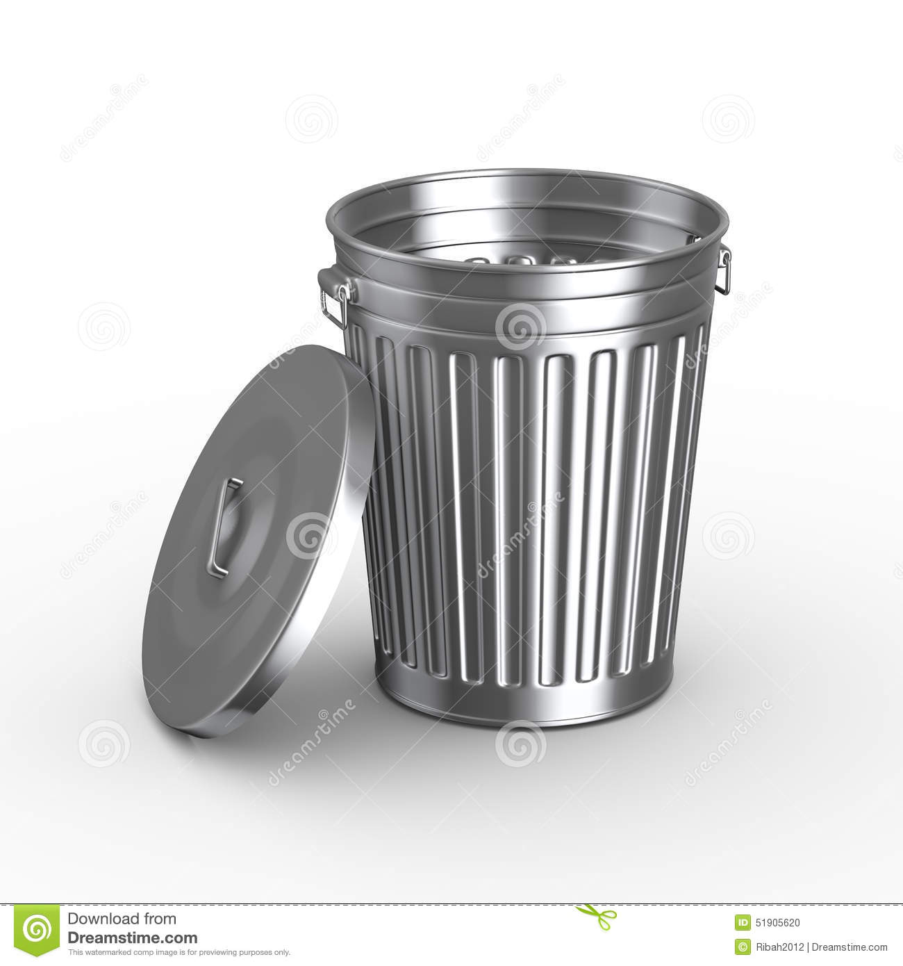 Aluminium Garbage Cans : D trash can bin with cover stock illustration image