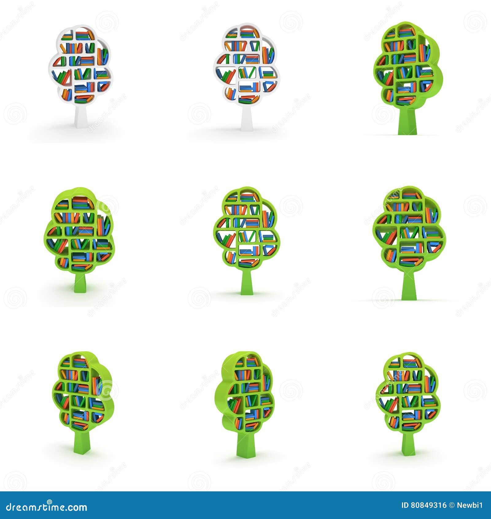 3d Tree Of Knowledge Set Bookshelf On White