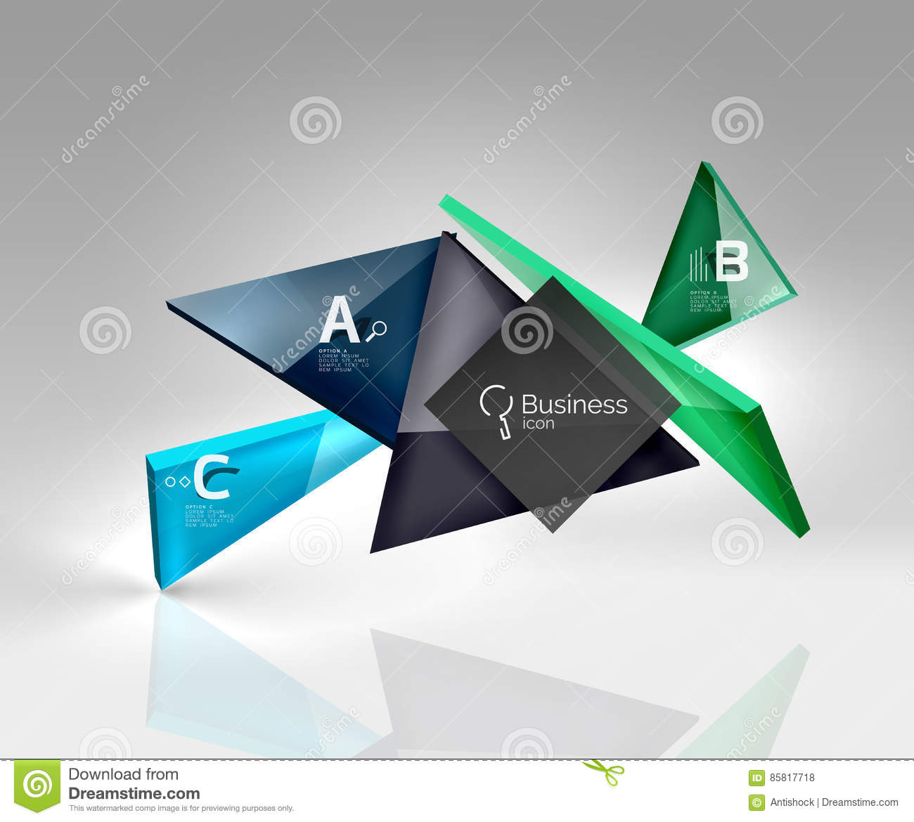 3d triangle modern composition stock vector illustration of banner