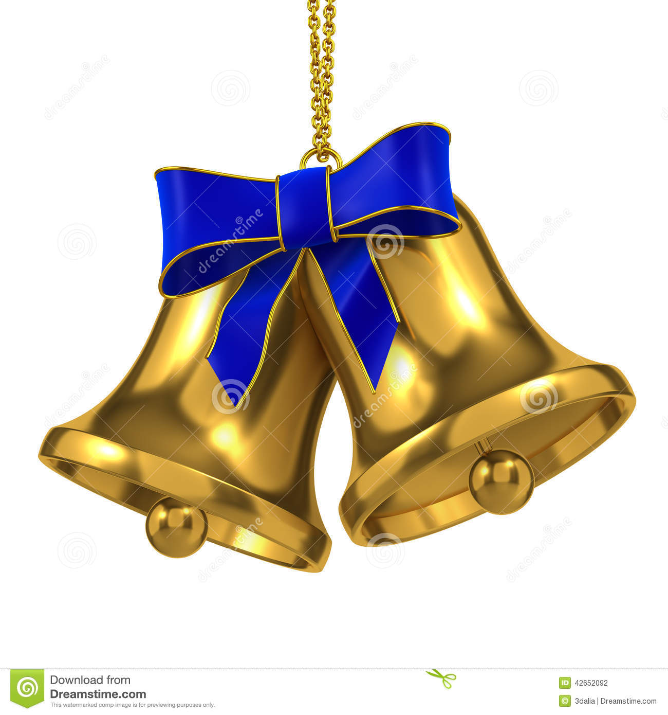 D two blue christmas bells with ribbon stock