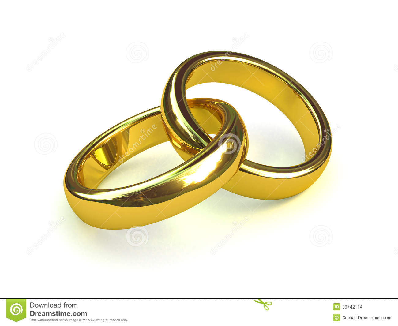 3d Two Gold Rings Entwined Stock Illustration