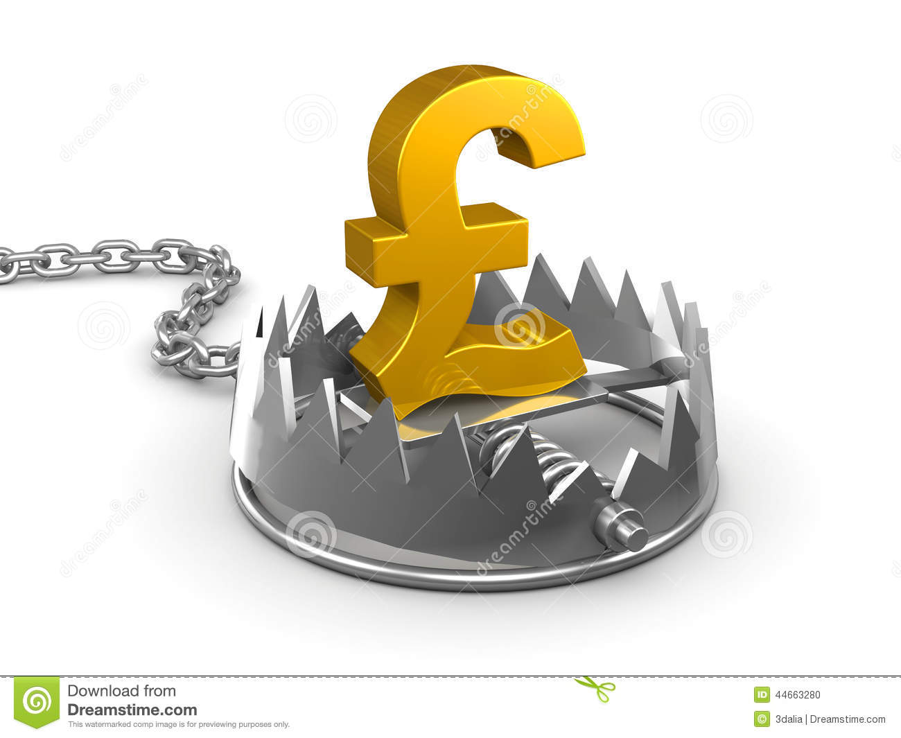 3d Uk Pounds Sterling In A Bear Trap Stock Illustration