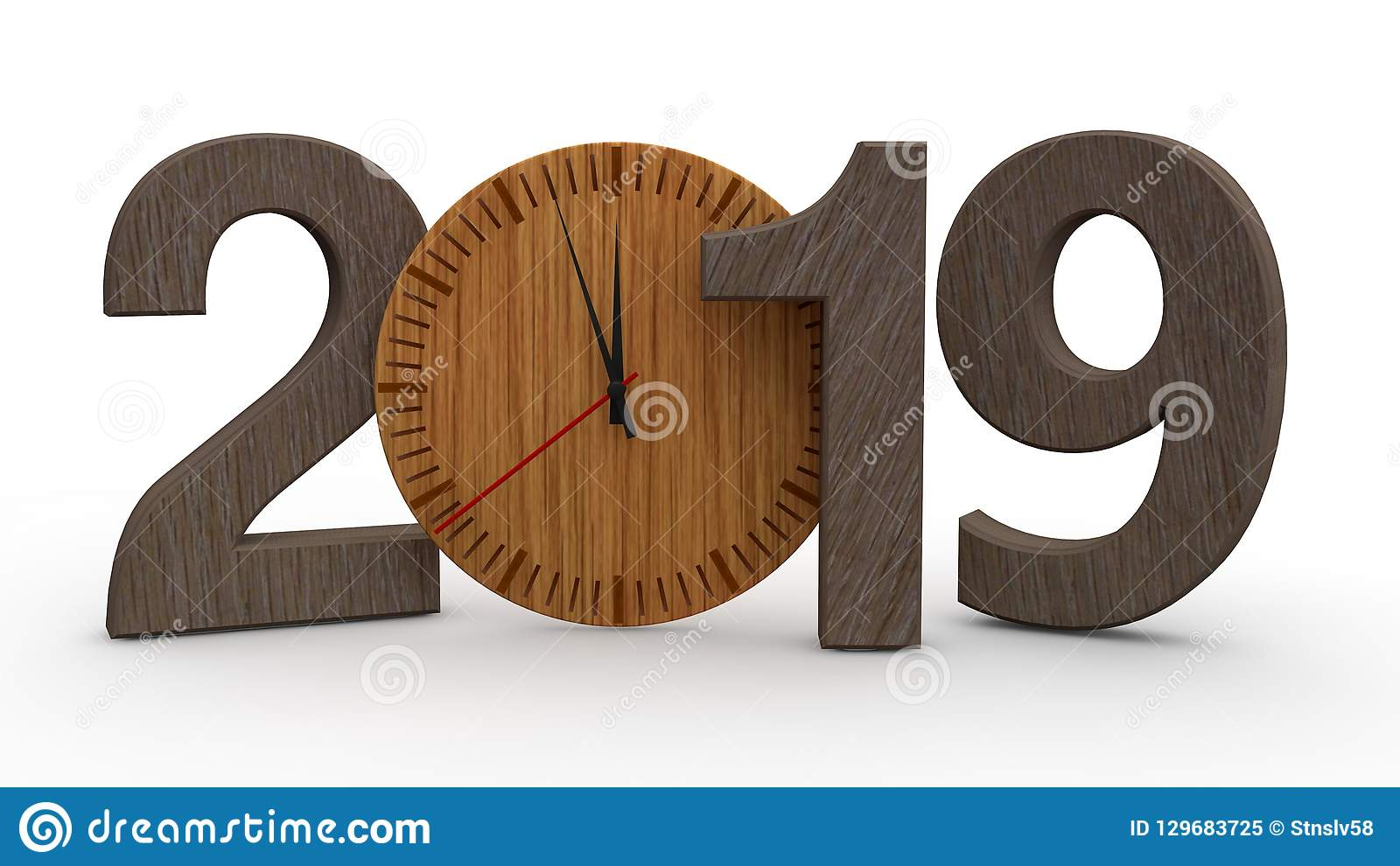 Calendario Meccanici.3d Un Illustrazione Di 2019 Data Con L Orologio Meccanico