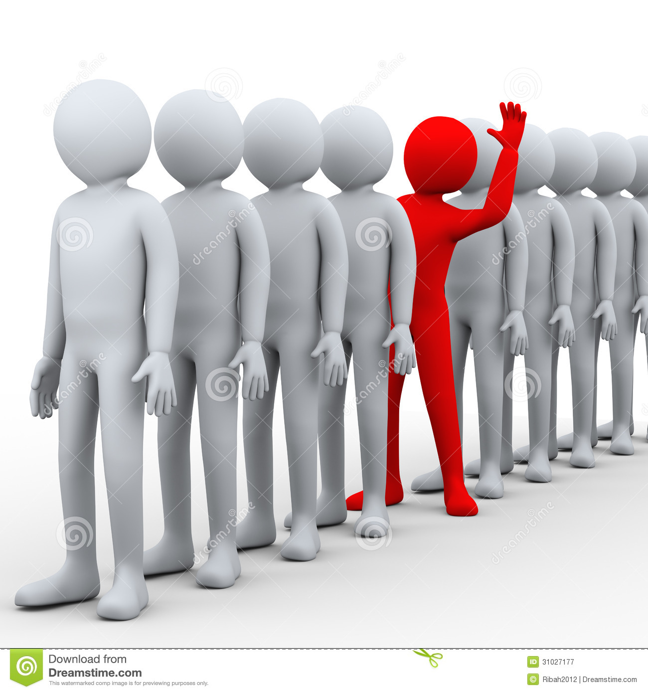Unique Different Person Standing Out In A Crowd Stock Illustration ...