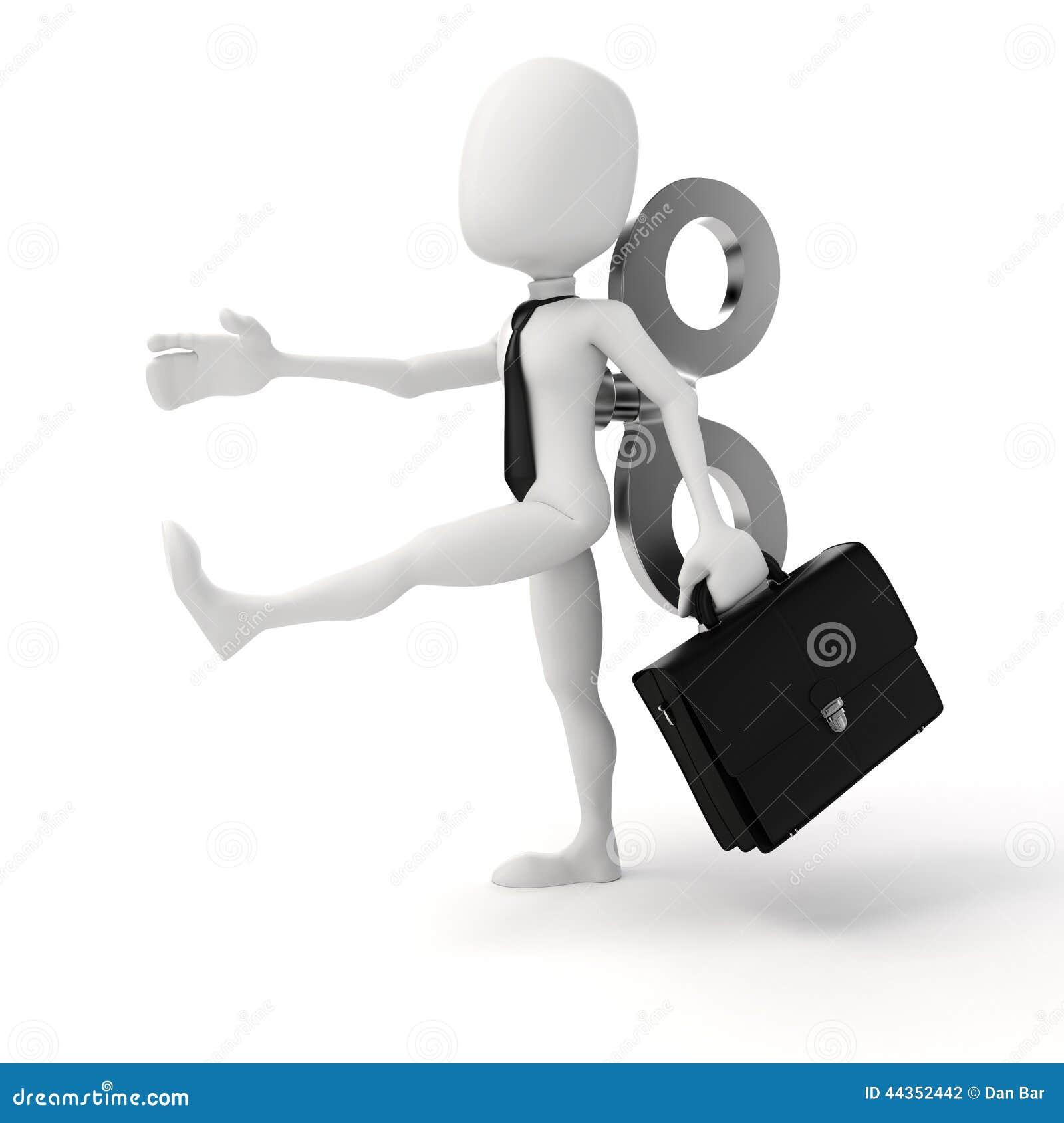 3d uomo con una grande chiave sulla parte posteriore, efficienza nel concetto di affari