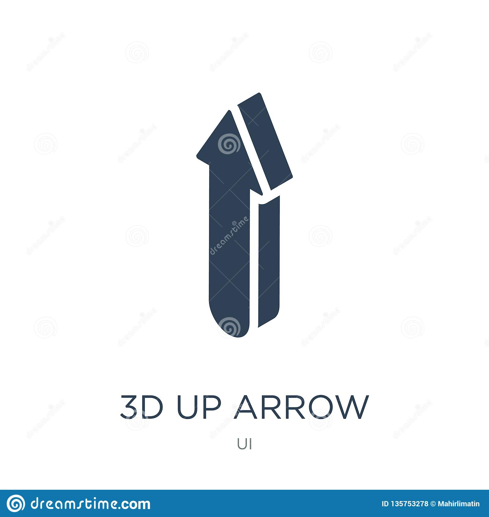 3d up arrow icon in trendy design style. 3d up arrow icon isolated on white background. 3d up arrow vector icon simple and modern