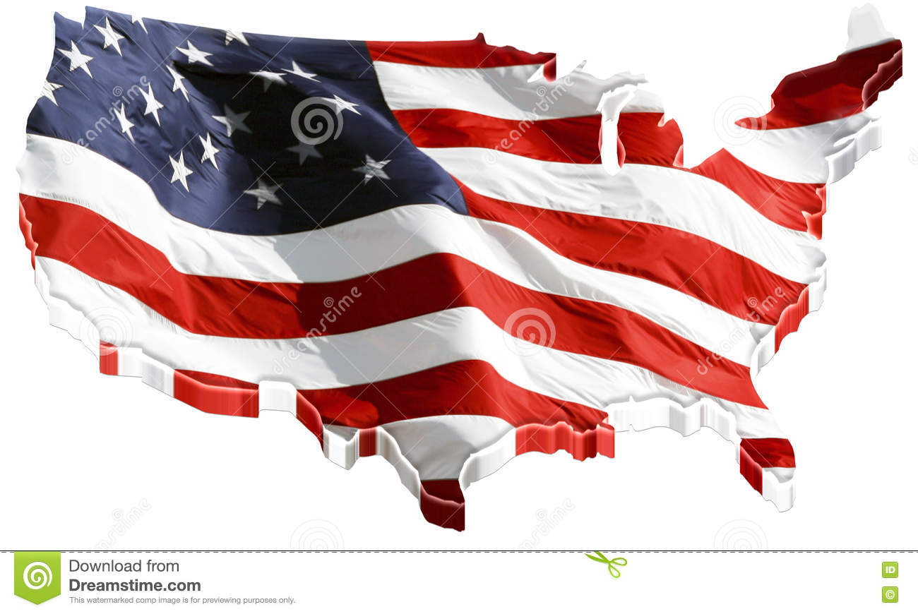3d Map Of Us.3d Us Map And Us Flag Stock Illustration Illustration Of Geography